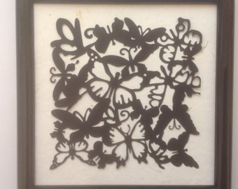 Simply Silhouettes/Striking Black & White Butterflies  Silhouette in Frame