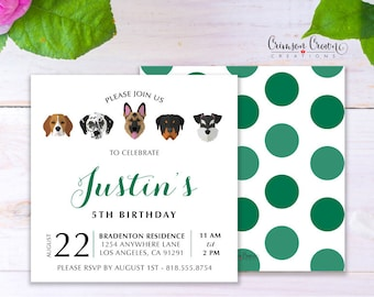 Adopt a Dog Child's Birthday Invitation - Baby, Toddler, Kid's Puppy Birthday Party Invite - Doggie Party - Digital File