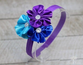 Purple Headband - Purple and Blue Headband - Flower Cluster Headband - Baby Headband - Adult Headband - Three Flower Headband - Satin Flower