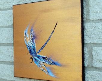 Dragonfly Painting Original palette knife modern art 12x12 acrylic canvas art ready to ship by jillsfineart