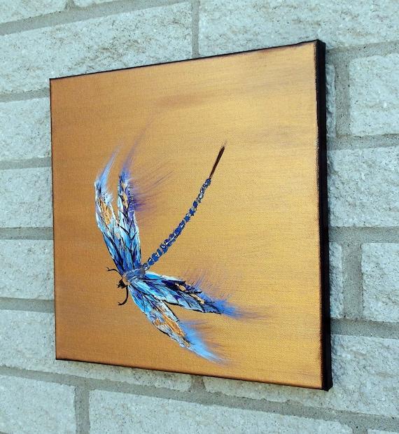 Dragonfly Painting Original Palette Knife Modern Art 12x12