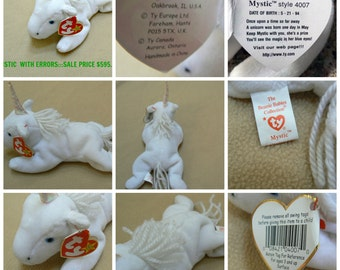 TY Beanie Babies  Collection Of 6 Rare Error Printed Hang Tags /Tush Tags Name Tag