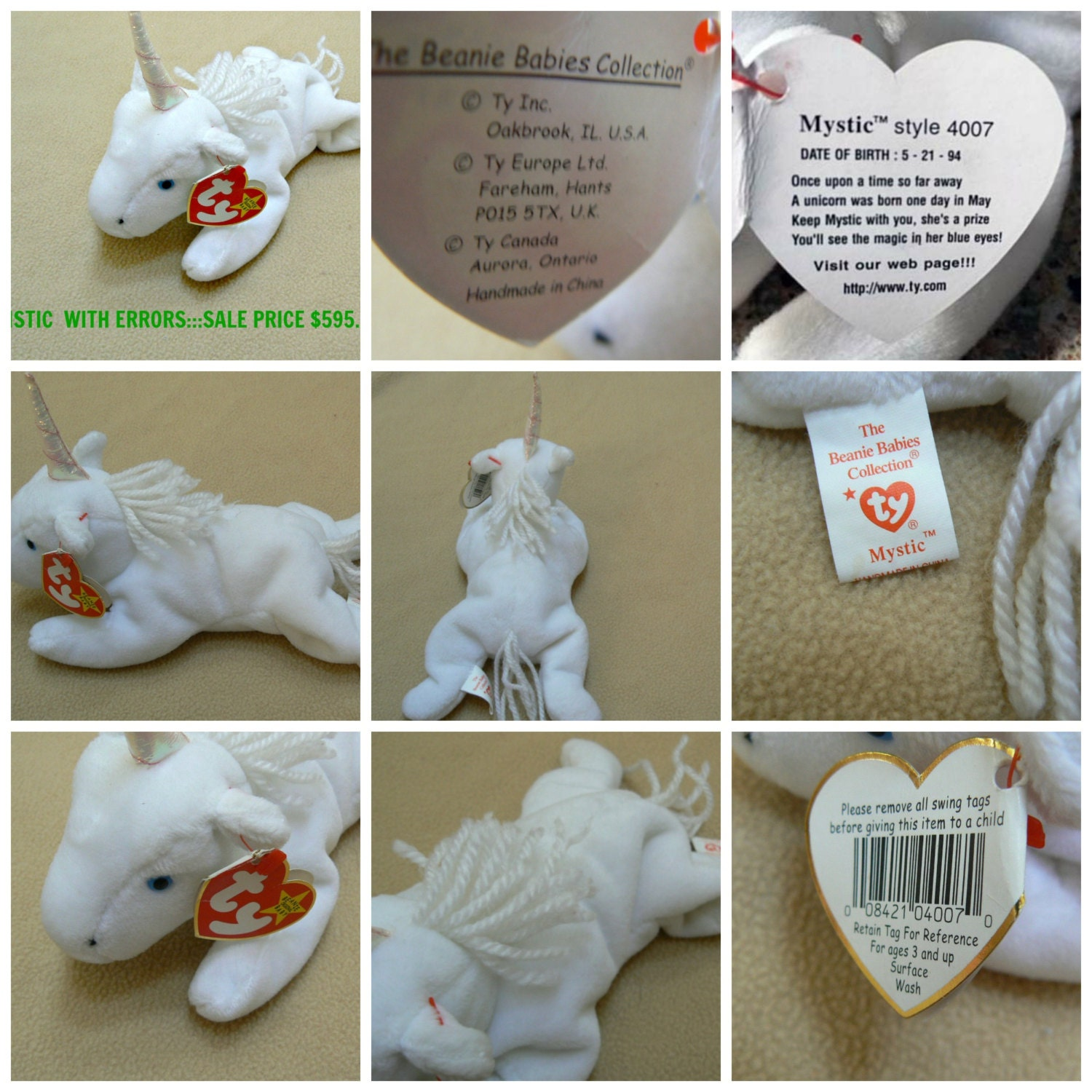 ty beanie babies collection of 6 rare error printed hang tags. Black Bedroom Furniture Sets. Home Design Ideas