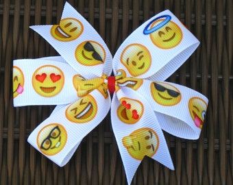 Emotions 4 Inch Hair Bow - Emotions Faces 4 Inch Pinwheel Bow - Emotions Party Favor -Emotions Party - EmotionsFavor - BowBravo
