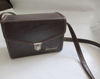 Vintage Brown Leather Marsand USA Camera Bag / Carrying Case Hard Vintage Camera Case / Bag with Shoulder Strap