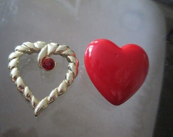 Lot of 2 Vintage Heart Pins / Brooches - Gold Heart with Ruby Gem and Red Hallmark Heart Pin