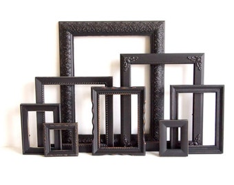 Black Picture Frames Set - Nursery Frames - Wedding - Vintage Collection - Shabby Chic - Distressed - Gallery Wall