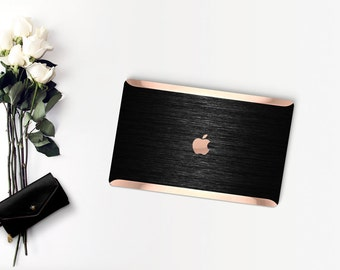 Platinum Edition Brushed Black Metallic with Rose Gold/Copper Edge Detailing Hybrid Hard Case for Apple Macbook Air & Mac Pro 13 Retina