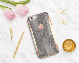Platinum Edition Untreated Gray Wood with Rose Gold Detailing Hybrid Hard Case Otterbox Symmetry iPhone 6 / iPhone 7 / Galaxy S7 / S7 Edge