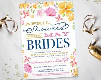 April Showers bring May Brides– Bridal Shower Invitation (Digital file)