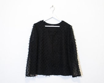on sale - black sheer fuzzy blouse / sparkly long sleeve top / size M