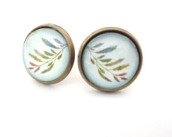 Earrings Leaf green blue