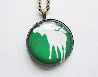 Necklace Moose Elks green  Glass