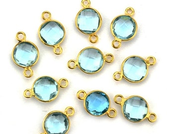 30% OFF Hydro Blue Topaz, Bezel Round Shape Connector, 8mm Round 24k Gold Plated, Double Bail 1pc. (HB-10206)