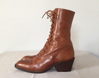 Joan&David tall Victorian boots | chestnut brown leather lace up boots | 8.5