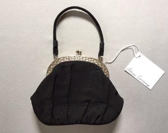 1940s Garay black wool purse | small silver brick frame kiss lock bag