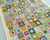 Handmade multi coloured vintage style granny blanket