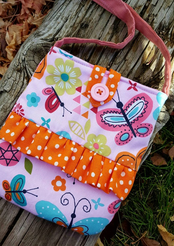 Butterfly Toddler Purse, Little Girl's Purse, Purse with Ruffle