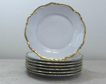 Seven Bread Plates in Golden Lark by Mitterteich