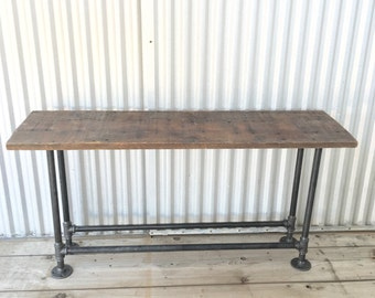 Henry Console Table Reclaimed Wood and Steel Pipe Modern Industrial Vintage Furniture