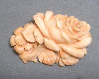 Coral  from the Mediterranean - Unique one off hand carved  Vintage salmon pink
