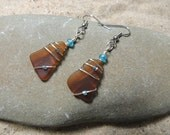 Handmade  Surf Tumbled Authentic Surf Tumbled Amber Sea Glass Earrings Wrapped With Blue Accents