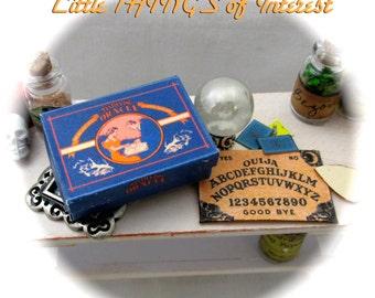 Dollhouse Doll OOAK OUIJA Board Set for HALLOWEEN Ouija Board Box Crystal Ball Tarot Cards 1/12 Scale