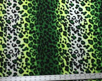 Ombre Cheetah Green Anti Pill Fleece Fabric - 25 Inches - Animal Fleece