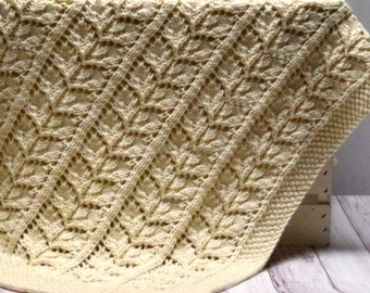 Organic Baby Blanket: Heirloom Quality Leaf Lace Hand Knit Baby Blanket, 100% Organic Un-Dyed Cotton Receiving Blanket, Ready To Ship