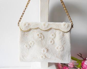 Pearl Evening Bag, Hand Made Japan, Vintage Purse, Wedding Bridal, Pearl Handbag, Glamorous Purse, Pearl Clutch Bag  EB-0035