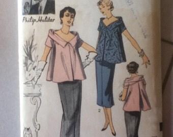"Vogue Vintage Maternity Skirt & Blouse Pattern 6617  Size: 14 Bust 32"", Waist 26"""