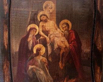Jesus Christ - Descent from the Cross - Orthodox Byzantine icon on wood handmade (22.5 cm x 17 cm)