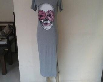 Long Tattoo flash skull roses long T-shirt punk dress sugar skull.