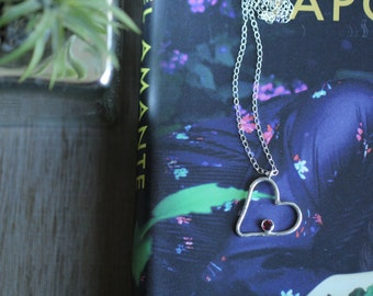 Sterling silver Garnet necklace - January birthstone necklace - Heart necklace - Garnet Jewelry