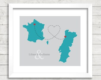 European Love Map - Two Countries, One Print - Paris, France - Porto, Portugal - Long Distance Love - French - Portuguese