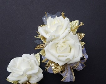 50th Anniversary Corsage and Boutonniere Set