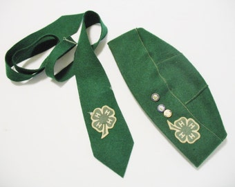 Vintage 1950-60s Collectible 4H Club Memorabilia Green Felt Beret Hat and Neck Tie