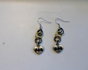 black and gold batman earrings