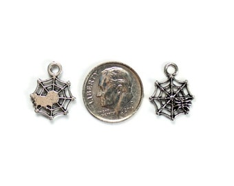 Antique Silver Spiderweb Charms 15 QTY