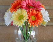 Reserved for Carol  Gerbera Daisy Flower Arrangement, in Glass Vase, Faux Water, Spring & Summer Flowers, Colorful Flowers, Gifts