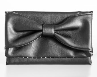 Bow Clutch, Black Faux Leather, Black & White Polka Dot Interior, Party Clutch, Handbag, Purse, Faux Leather Clutch, Clutch, Purse