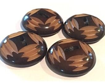 Set of 4 Carved Vegetable Ivory Vintage Buttons in Brown and Tan, vintage Button Lot, Button lot 34