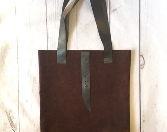 Suede Tote - Suede Purse - Suede Laptop Bag - Boho Bag - Leather Book Bag - Leather Tote - Brown Leather Handbag - Brown Suede Bag