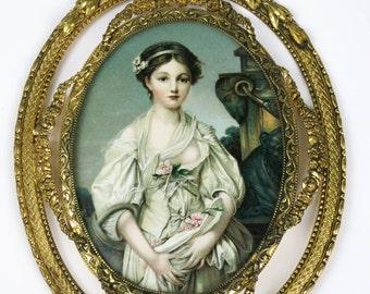 Vintage La Cruche Cassee or The Broken Jug by Jean Baptiste Greuze 1771 Image on Fancy Gold Toned Frame Wall Hanging Decor