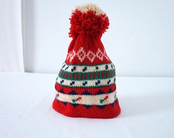 Vintage Knitted Ski Snow Hat Wool with Large Pom Pom