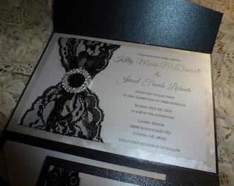 "Black Wedding Invitation Sample -  ""Black Lace Fashion"""