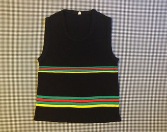1970's, sweater vest, in black, with red, green and yellow stripes, Men's size Small/Medium, Women's size Large