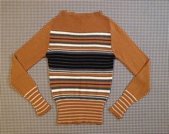 1970's, slit neck sweater, in tan, grey, black and cream stripes, Women's size Small/Medium