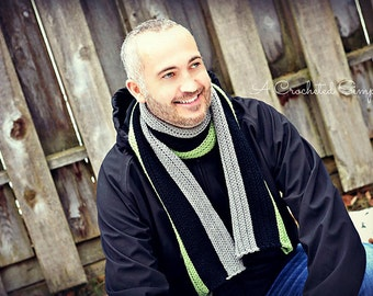 "Crochet Pattern: Men's ""Knit-Look"" Ribbed Scarf **Permission to sell finished items"