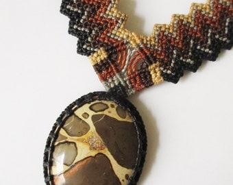 Safari Jasper (Leopardite) Macrame Necklace Handmade with Safari Jasper stone cabochon
